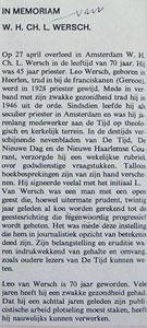 overlijdensbericht uit Variant mei 73