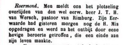 Jan van Wersch, pastoor