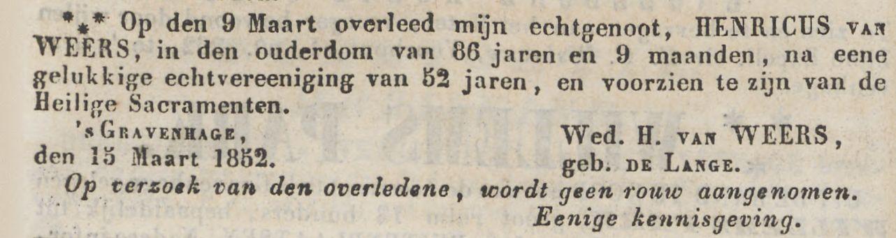 dagblad van s'gravenhage 15 mrt 1852