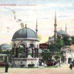 Constantinopel, tegenwoordig Istanbul in Turkije. Afgebeeld is de fontein van Wilhelm II, met op de achtergrond de Haya Sofia. De fontein was een cadeau van de Duitse keizer toen hij in 1895 Constantinopel bezocht. De kaart is in maart 1908 aangekomen in Vaals.